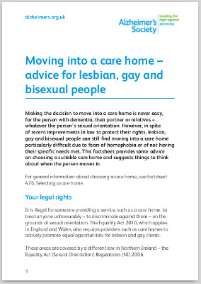 Case Study 3 tool: Moving into a care home – advice for lesbian, gay and bisexual people