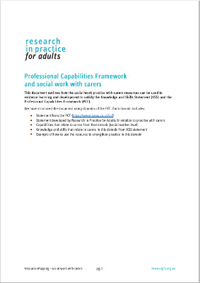 Professional Capabilities Framework and social work with carers